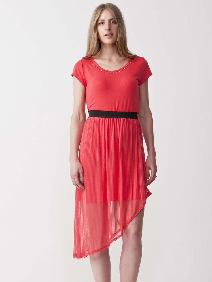 Stephanie - Delightful Chiffon Dip Hem Dress with Gold detailed neckline. Features dipped hem Chiffon skirt with a regular fit cut. Short sleeve styling with gathered pleats. $49.50