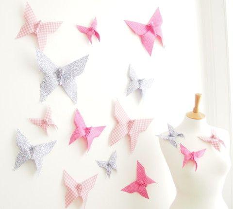 Origami Butterfly Wall Decor for Nursery Bedroom - 15 Cotton Butterflies CUSTOM