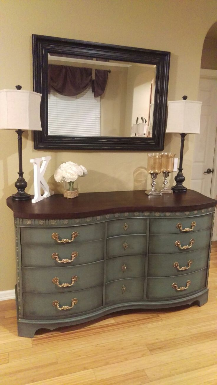 Martha Stewart chalk paint in river rock with minwax special dark wax, Annie Sloan black wax, and gold painted details, Jacobean stained top