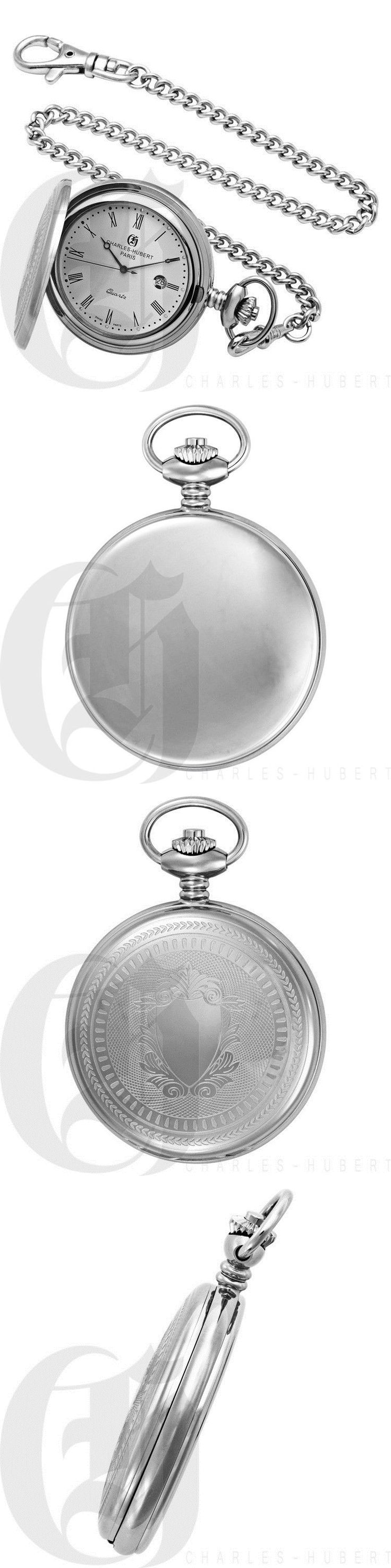 Modern 3938: Charles-Hubert Stainless Steel Hunter Case Quartz Pocket Watch - #3599-W -> BUY IT NOW ONLY: $109 on eBay!