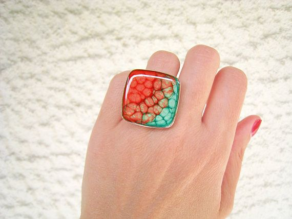 Pink and green ombré resin ring multicolor psychedelic glass