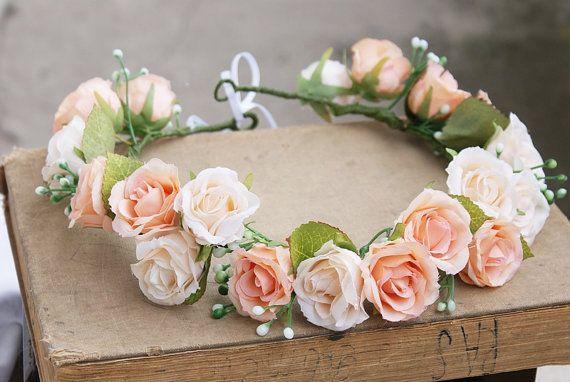 Flower crown Rose flower crown floral crown Headpiece by mamwene