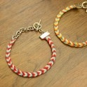 chevron friendship bracelet with chain (quicker with cotton thread?)