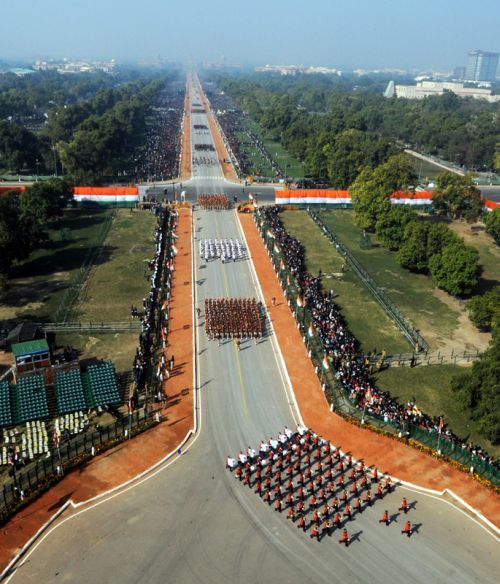 Soldiers march during Republic Day celebrations, in New Delhi.