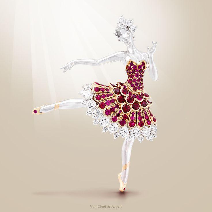 Van Cleef & Arpels bailarina clip ouro -branco, diamantes redondos, uma rosa de diamante, ouro rosa, rubis- rodada revelado no Masterpiece London Fair.