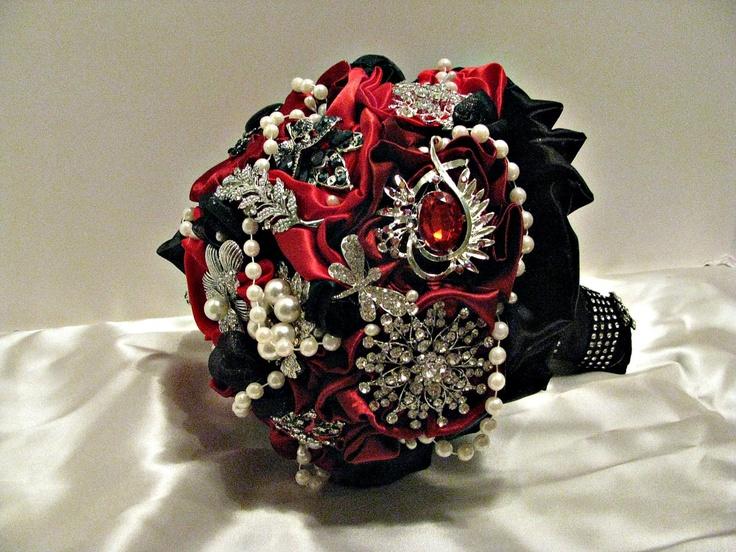 Red,black brooch wedding bouquet  $168.00, via Etsy.