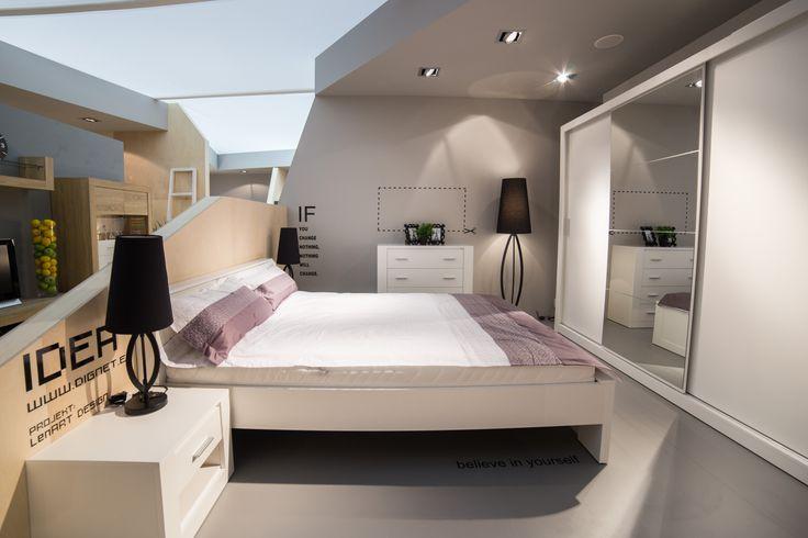 Skandynawski styl sypialni IDEA określają jej surowe, proste bryły. #dignet #dignetlenart #meble #mebledosypialni #design #mtp #meblepolska #targi #idea #szafa #szafyprzesuwne