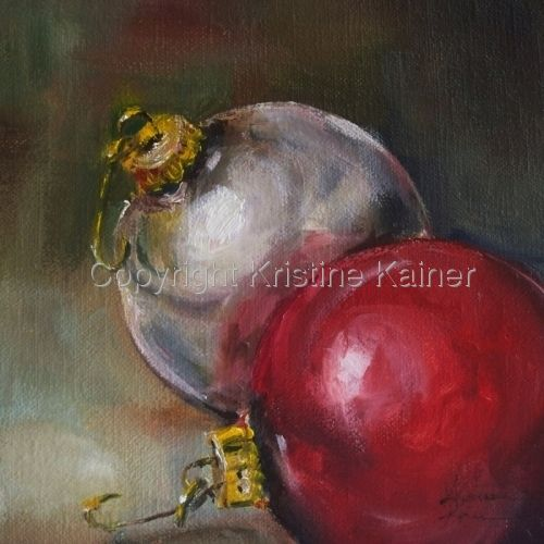 Partridge in a Pear Tree is an original oil painting of the first verse of the Twelve Days of Christmas song by Texas artist Kristine Kainer-Second Place Winner of the November Art Challenge
