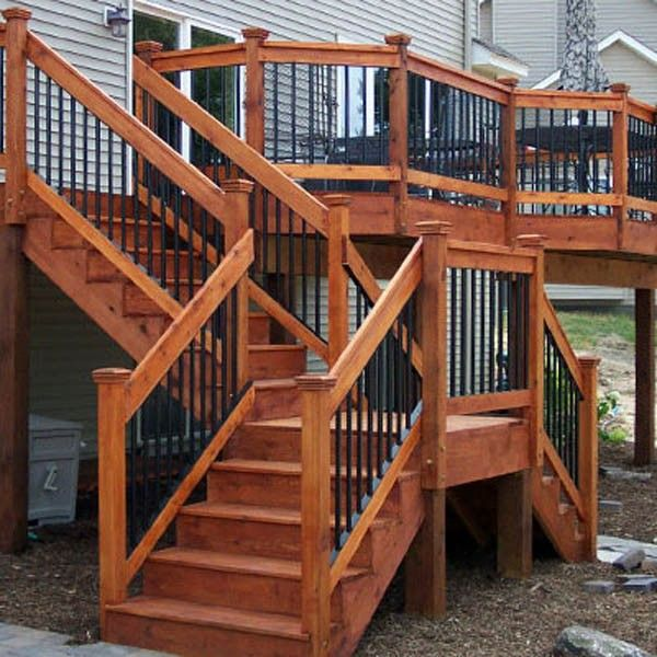 I envision splitting the stairs off the deck to allow for easier access to/from front.  Like this?
