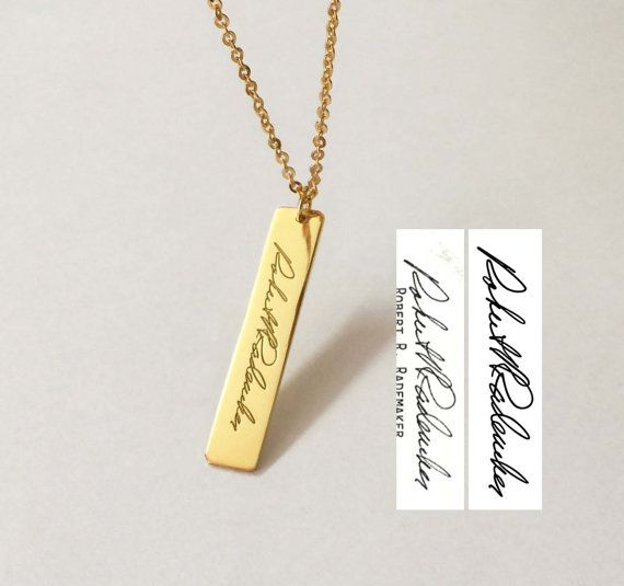 Personalized Handwriting Bar Necklace Engraved Signature