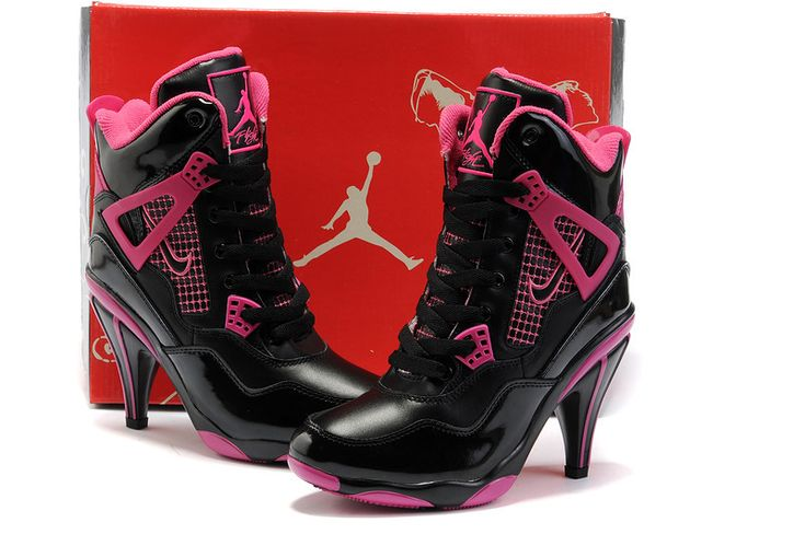 Nike New Women Air Jordan 4 High Heels Shoes Black Pink - Nike Heels Nike High Heels Nike Shoes