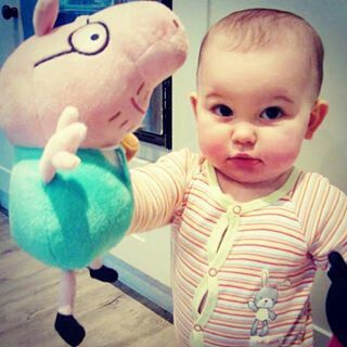 Emilia Saccone Joly with her peppa pig #cute#lovely#baby