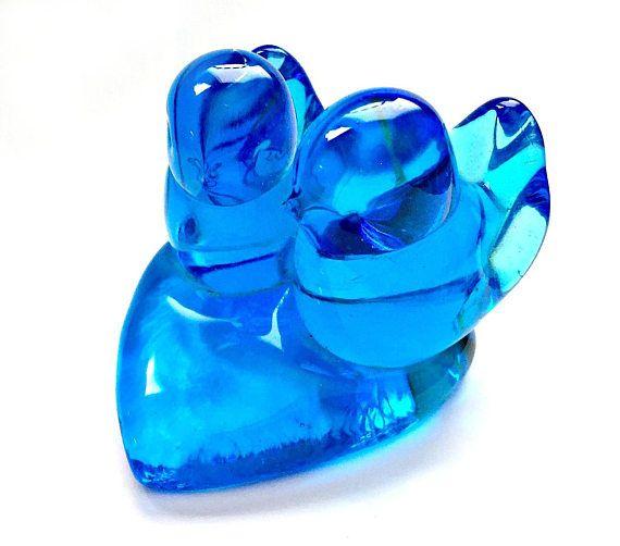 Glass Bluebirds Vintage Leo Ward Signed Glass Bluebirds on a