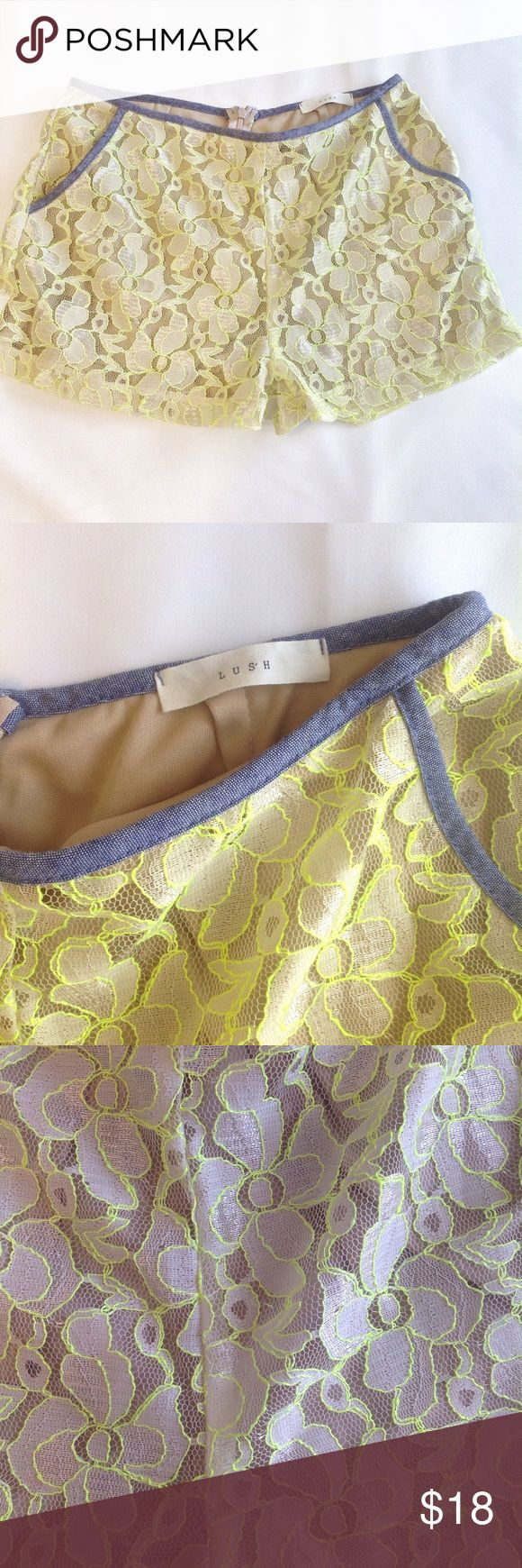 Lush Lace Neon Shorts sz Small Super cute shorts, great condition! Lush Shorts