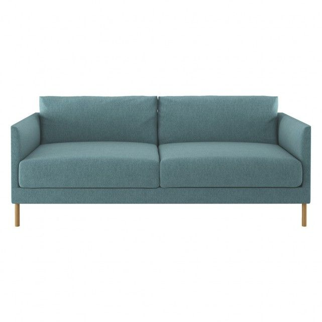 HYDE Teal blue fabric 3 seater sofa, wooden legs