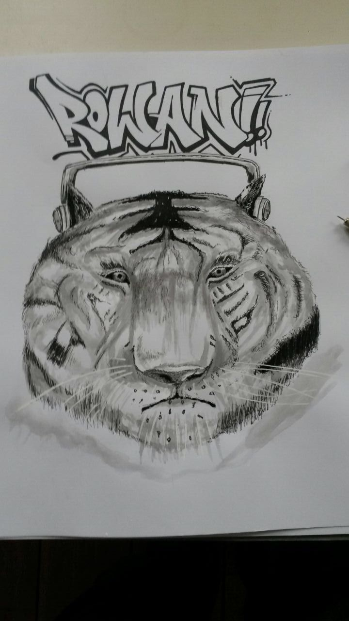 For my son!  Tiger Ink- wash,  fine liners and Molotow marker    Ink drawing #graffiti#sketch  RK
