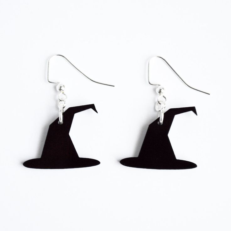 Laser cut acrylic black witches hat charm pendant earrings // Halloween jewelry // your choice of color