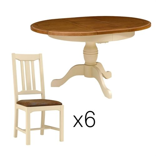 Westbury Painted Round Table and 6 Chairs (L310) with Free Delivery | The Cotswold Company