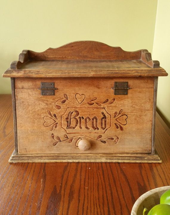 Vintage Bread Box Rustic Antique Bread Box by BlindedByDelight