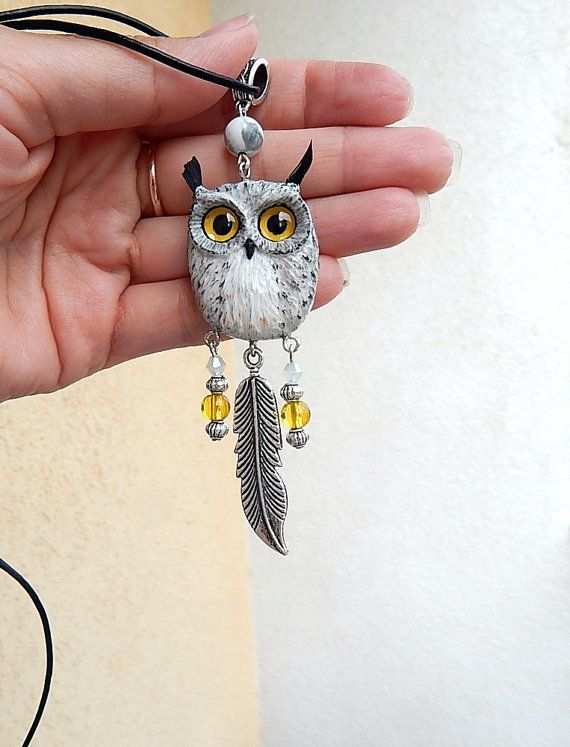 Eagle owl pendant of polymer clay jewelry  polymer by ViaLatteaArt