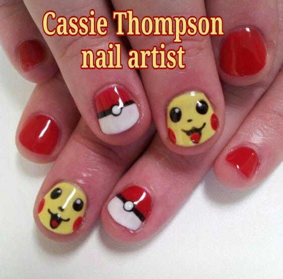 Pokemon inspired Pikachu gel mani - nail art by Cassie Thompson nail artist of Vancouver WA. Follow me on Instagram @cassietnailartist