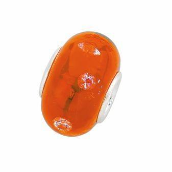 Amore & Baci 7D010 orange Murano glass and zirconia bead