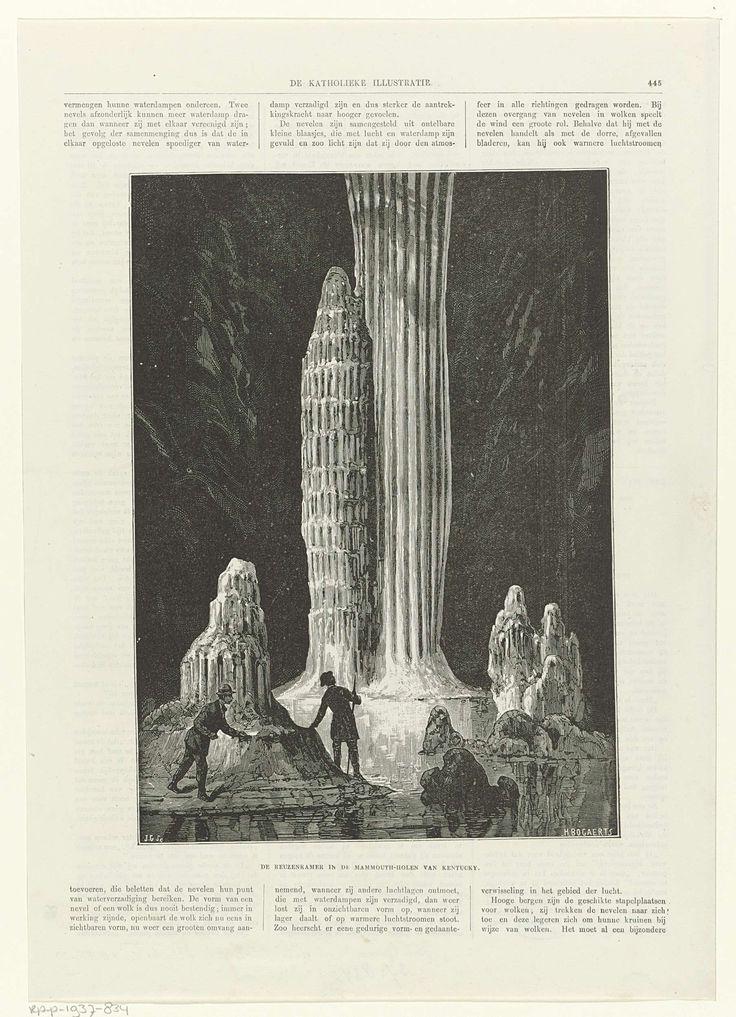 Jan Groen | De reuzenkamer in de Mammouth-holen van Kentucky, Jan Groen, 1863 - 1947 | Twee mannen bewonderen de hoge pilaren in de schaars verlichte Mammoetgrot.