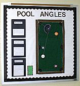 Interactive bulletin board in math - identifying and measuring angles using a pool table theme.
