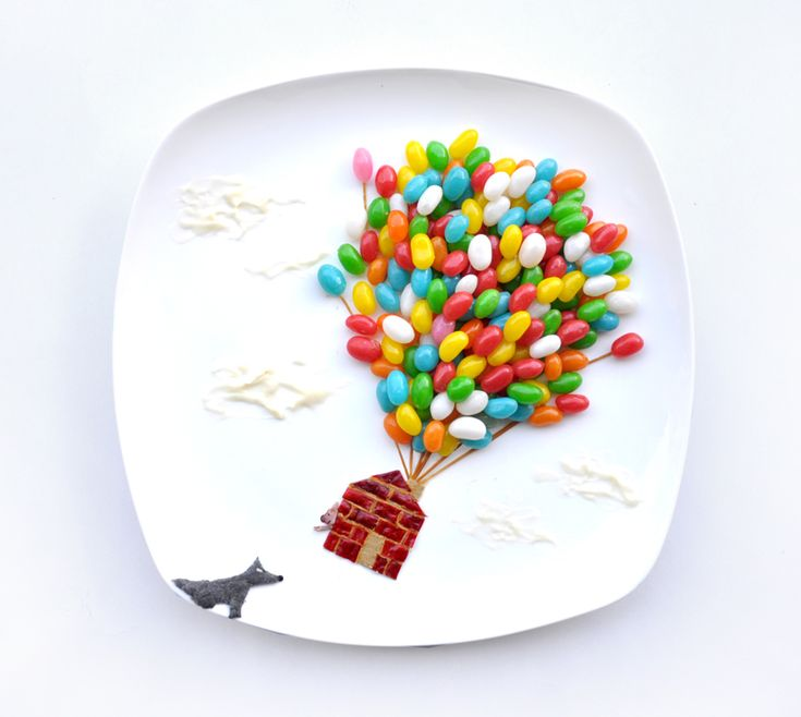 Jelly bean balloons! Plate art by Red.