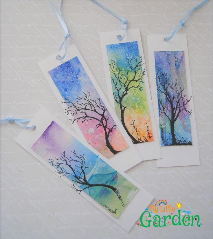 Aquarell Lesezeichen Satz Von 4 Abstrakte Malerei Baum Und