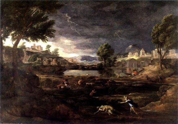 Stormy Landscape with Pyramus and Thisbe, 1651 - Nicolas Poussin.Genre: mythological painting
