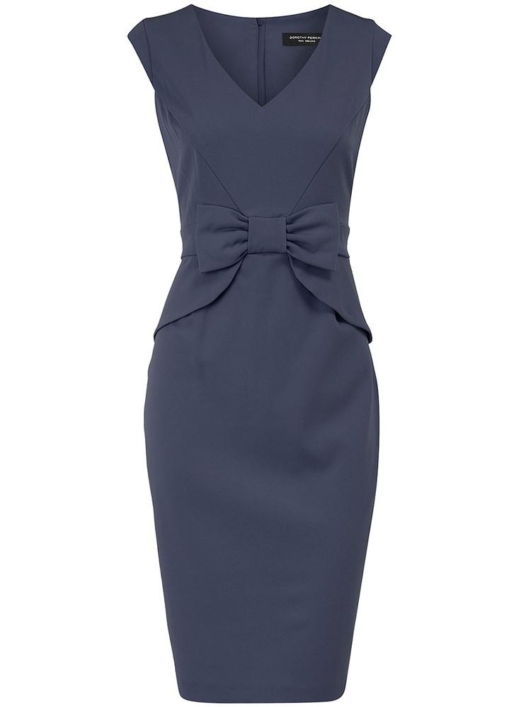 Blue peplum bow dress from Dorothy Perkins. Yum.
