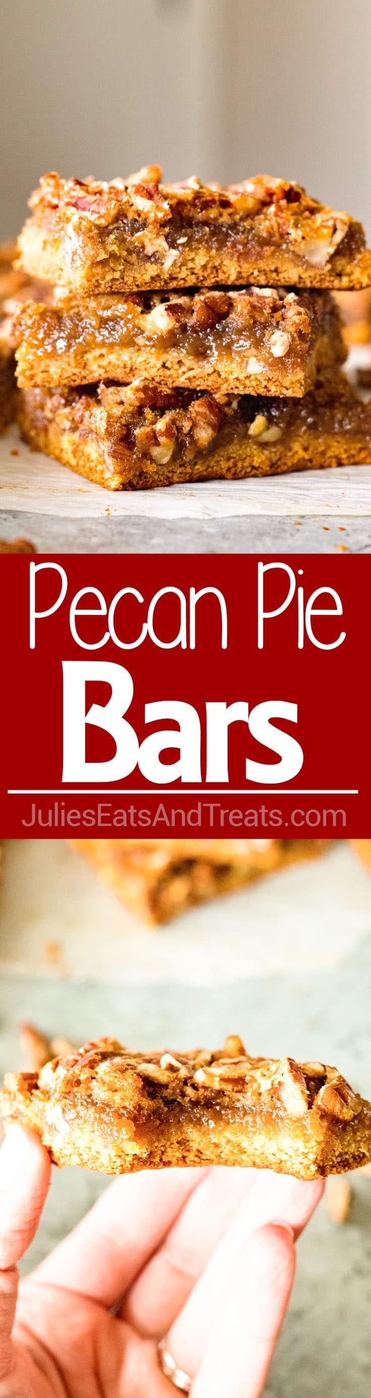Easy Pecan Pie Bars ~ Delicious, Buttery Pecan Pie Bar Recipe with a Cake Mix Crust, Gooey Middle and Loaded with Pecans! This Recipe Will Be Your New Favorite For the Holidays! via @julieseats