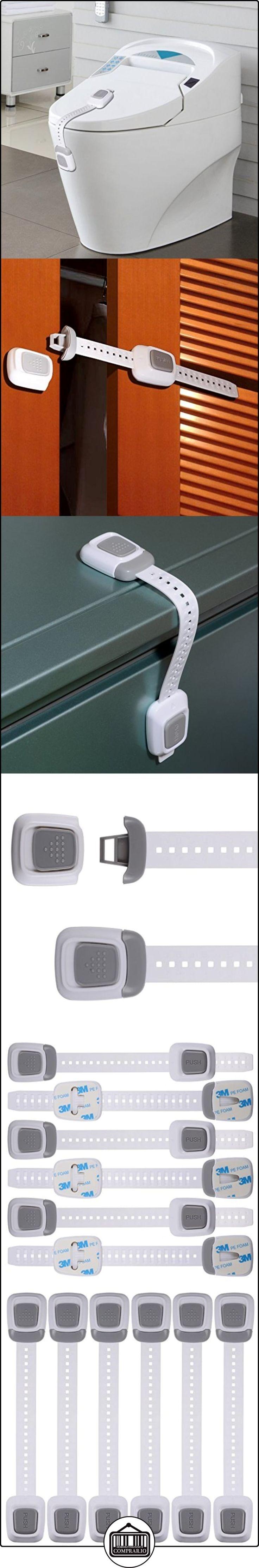 PChero 6 paquetes doble botón pulsador ajustable bebé niño seguridad cierres, cierres a prueba de bebé armarios, cajones, nevera, horno, lavavajillas, - Asiento para inodoro con tapa - no requiere herramientas o perforación  ✿ Seguridad para tu bebé - (Protege a tus hijos) ✿ ▬► Ver oferta: http://comprar.io/goto/B01KZJ55LO