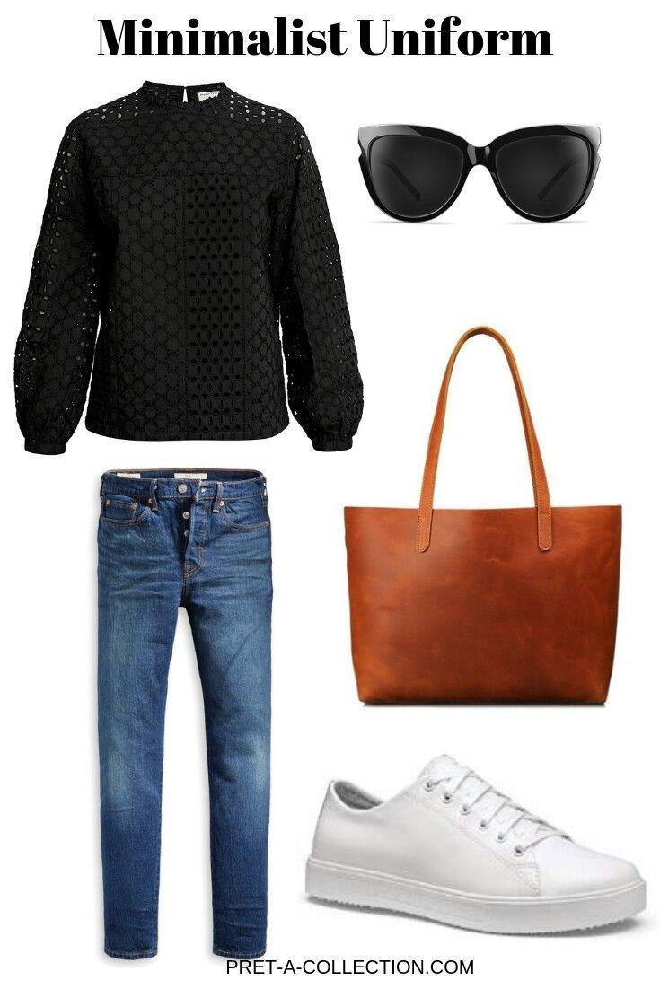 Minimalistische Alltagskleidung. # Capsulewardrobe # Minimalist # Mode # Weiß # Trainer # …   – A little bit preppy