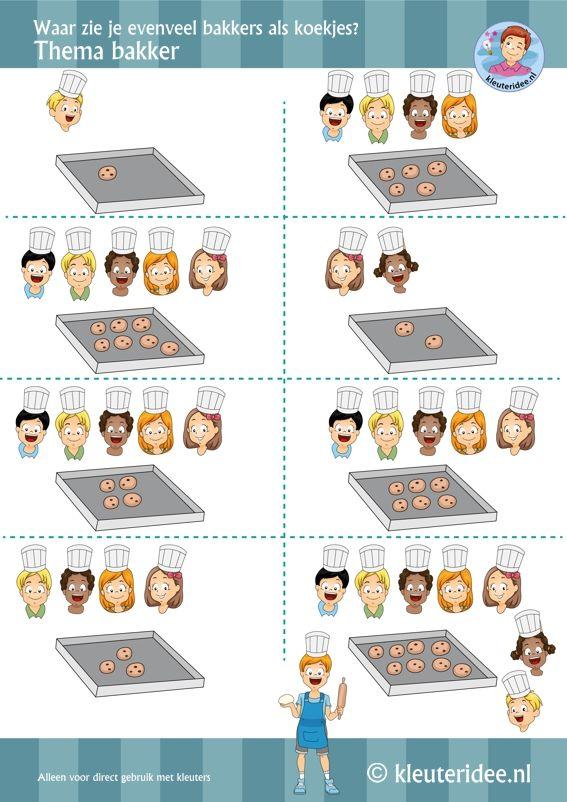 Waar zie je evenveel koekjes als bakkers, thema bakker, rekenen voor kleuters , by juf Petra van kleuteridee, Preschool baker math theme, free printable