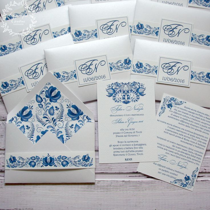 Приглашение в конверте, синий, белый, гжель, гжельский узор, приглашения на свадьбу, gzhel, invitation, wedding, stationery, приглашения, свадьба