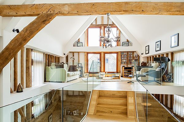Barn conversion with eye-catching wooden beams