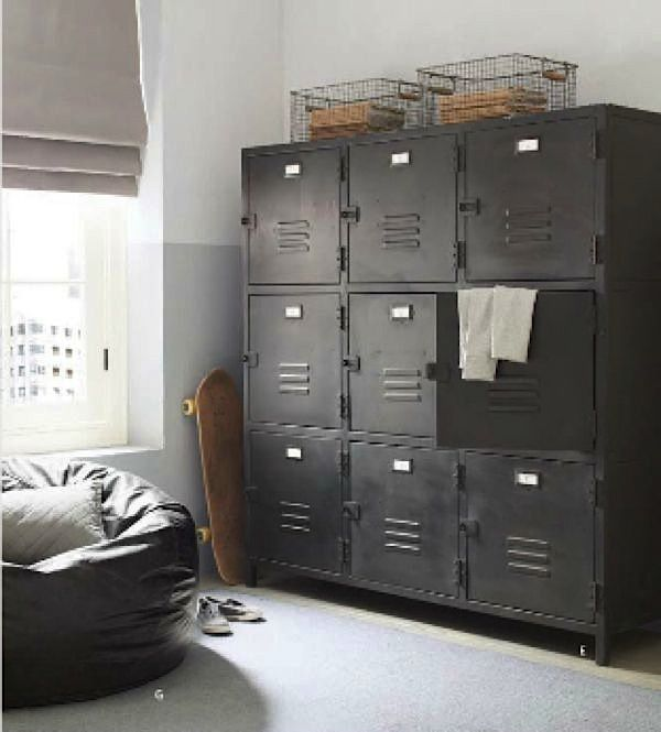 teen boys room storage with square metal lockers