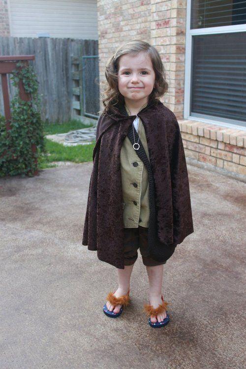 Cutest little hobbit ever. Love the faux fur on flip flops idea.
