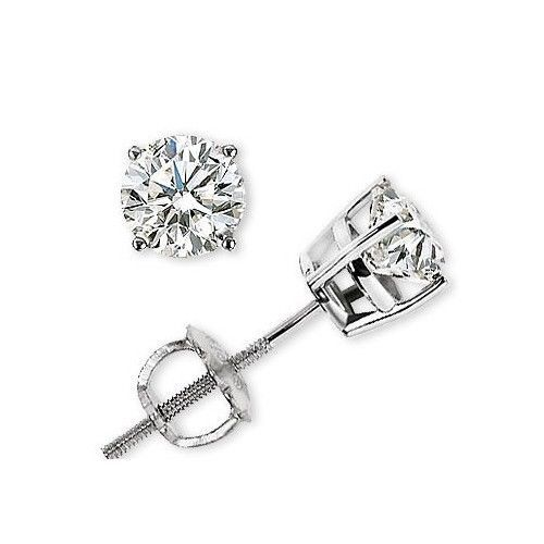 BB Jewels 14K White Gold Over 1.50Ct Round-Cut Diamond Screw Back Halo Stud Earrings For Women's BocrZR3uvb