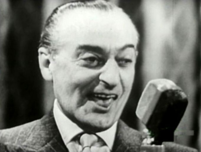 "Revue and comedy star Totò (Antonio De Curtis), guest star at ""Il Musichiere"", in the course of a show (1959)."