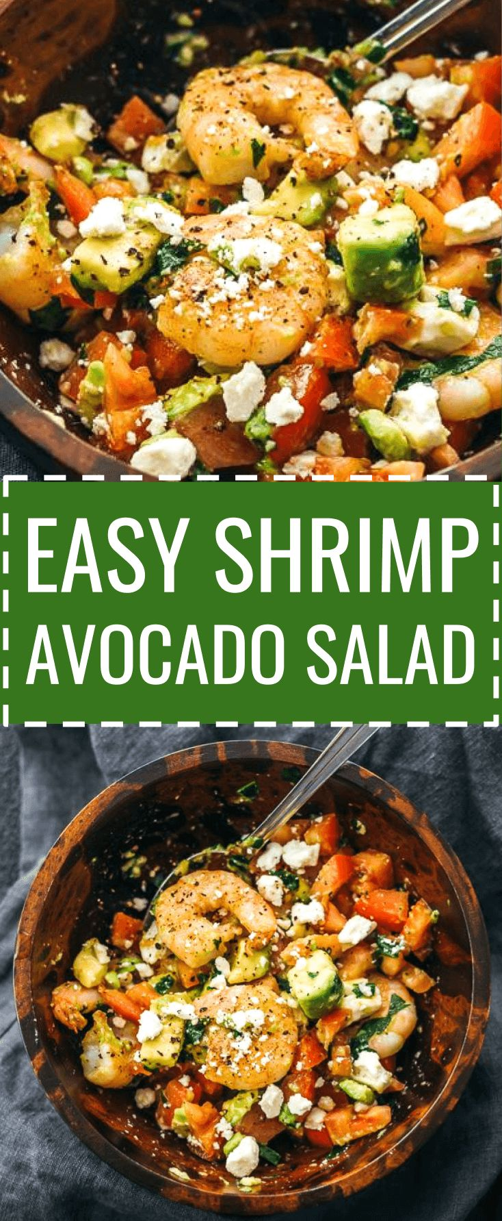 Here's a delicious and healthy cold shrimp salad with avocado, tomatoes, feta cheese, and lemon juice. dressing / summer / appetizer / fried / southwest / weight watchers / simple / whole 30 / cooked / citrus / fresh / meal prep / best / dip / ideas / skinny / chopped / keto / low carb / diet / atkins / induction / meals / recipes / easy / dinner / lunch / foods / healthy #shrimp #salad #healthy via @savory_tooth