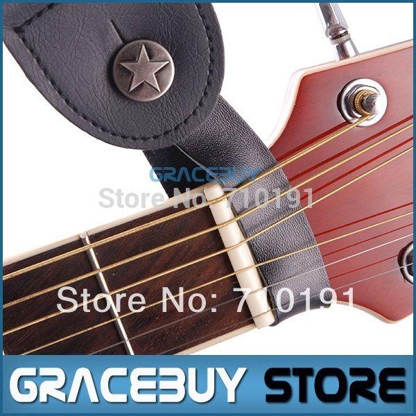 Asli Kulit Gitar Strap Tombol Pemegang untuk Akustik, dengan Kuat Logam Pengikat, cocok Di Atas Leher pada Headstock