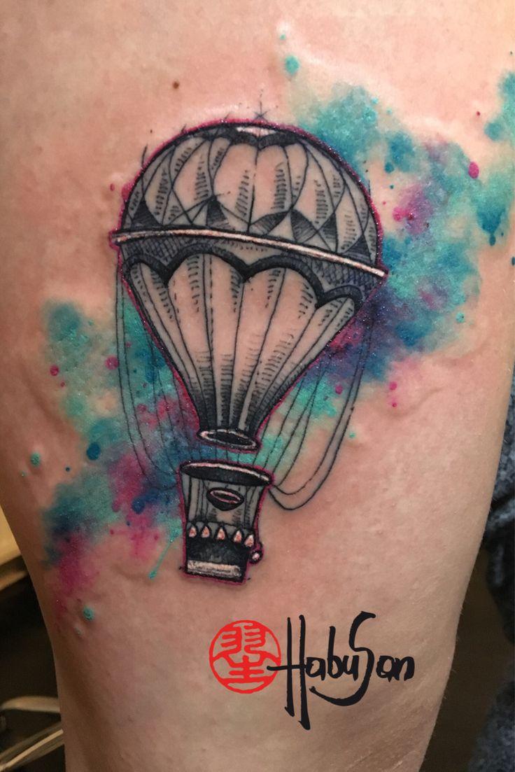 Watercolour Ballon auf dem Oberschenkel!  #tattoo #wien #habusan #neubaugasse76 #watercolortattoo