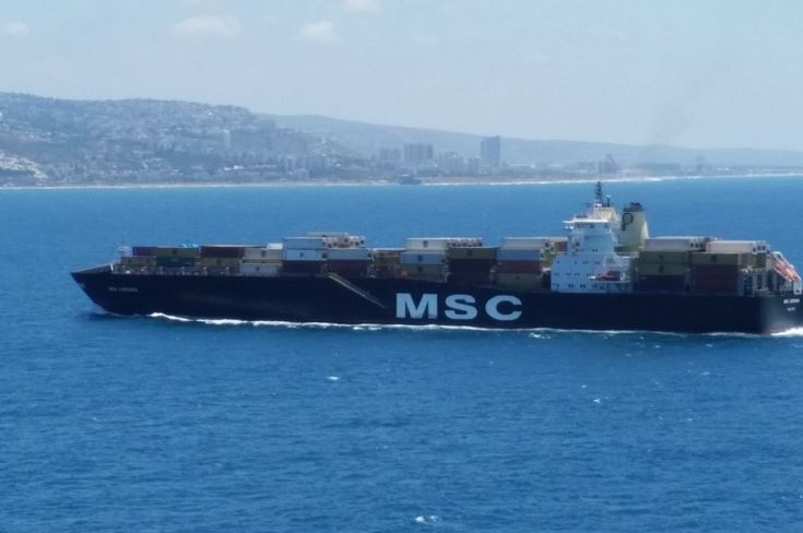 MSC ADRIANA, Container vessel of Mediterranean Shipping Company on her approach to port of Piraeus,