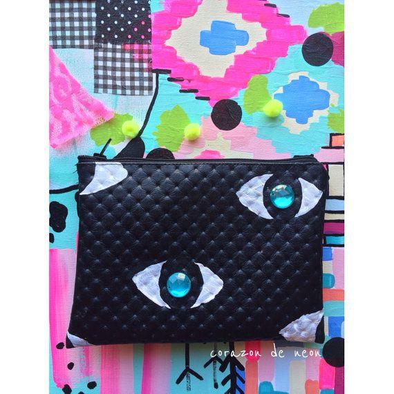 Evil eye pouch by corazondeneon on Etsy