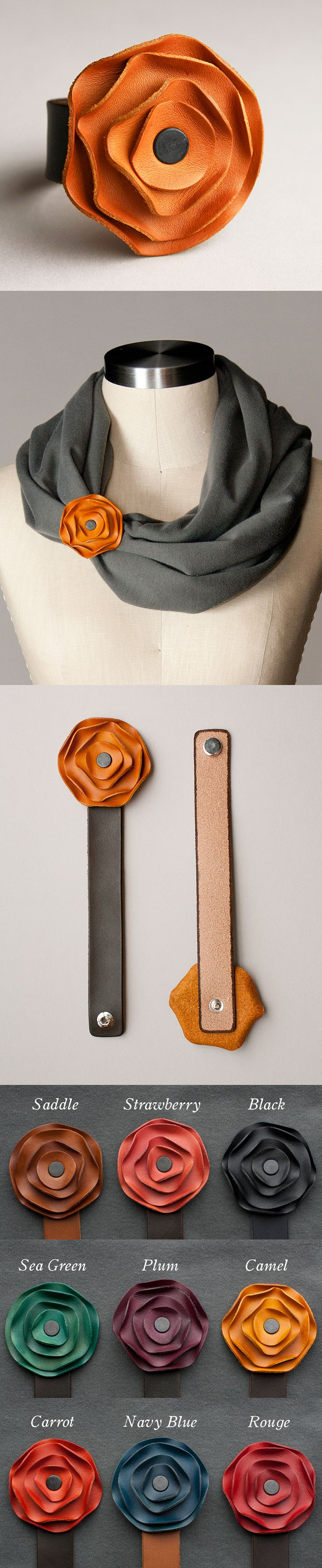 These Floral Leather Scarf Cuffs add just the right amount of attitude to a snuggly scarf. Each piece of leather is molded by hand, dyed, waxed and buffed, and finally riveted so that it comes together with a snap. Cuff fits on nearly any chunky scarf and comes in a ton of colors!