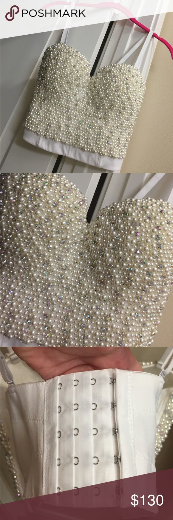 BRAND NEW pearl and rhinestone bralette balconet BRAND NEW pearl and rhinestone balconett brallete super shiny and gorgeous!!!! Size xl! Has a bra like back. Stunning!!!! Front is completely beaded! White and iridescent rhinestones Tops