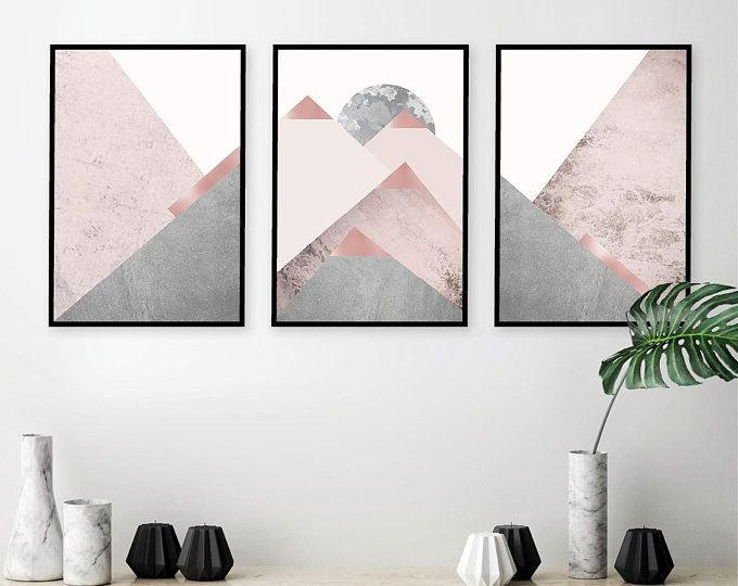 Downloadable Printable Art Set Of 3 Scandinavian Modern Geometric Prints In Blush Pink Grey Rose Gold Scandi Wall Art Instant Downloads Triptych Wall Art Printable Art Set Printable Art